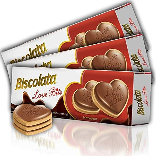 Biscolata Love Bite Chocolate Cookies with Cream Snacks Heart Shaped Cookies Hazelnut Pack of product image