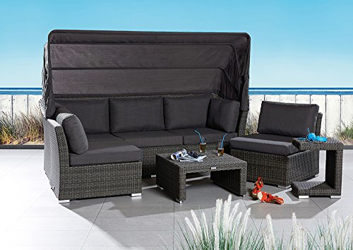 Strandkorbwerk Barcelona Loungegruppe XL mit Dach Grau Mix 5tlg Polyrattan Garten Terrasse Wintergarten