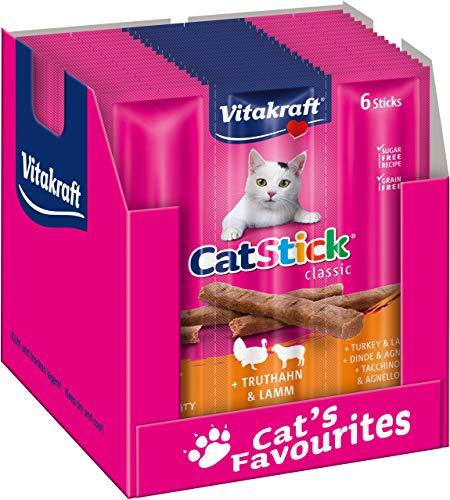 Vitakraft Cat-Stick Mini Truthahn und Lamm, 60 Sticks (10 Beutel mit 6 Sticks)