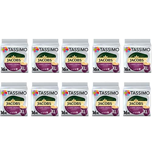 TASSIMO Jacobs Caffe Crema Intenso XL Kaffeepads - 10 Packungen (160 Getränke)