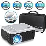 Videoprojecteur Bluetooth avec Lecteur DVD, FANGOR Projecteur 1080P Supporte Protable Full HD , 4500 Lumen Rétroprojecteur Natif 720P Compatible avec TV Stick Smartphone, Projecteur de Cinéma Maison