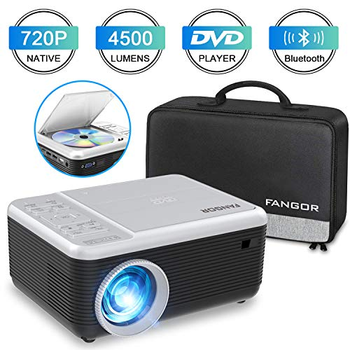 Mini Proyector, FANGOR Video Proyector portátil con Reproductor de DVD,4500Lux proyector de Cine en casa Bluetooth 720P Nativa,Compatible con HDMI/USB/Micro SD/VGA/Fire TV Stick/PS4/ Xbox