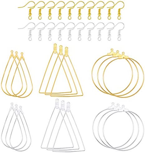 Yotako 36 Pcs Teardrop Round and Triangle Beading Hoop Earring Jewelry Finding Wine Glass Charm product image
