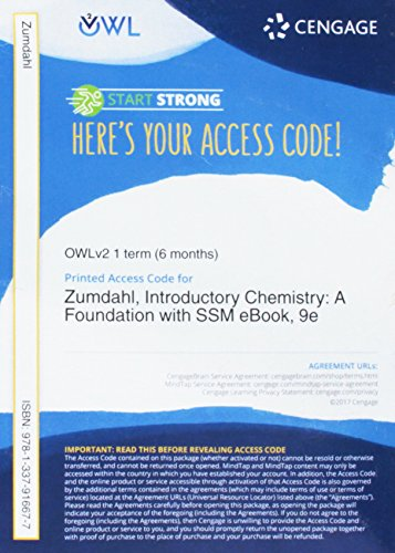 OWLv2 with MindTap Reader & Student Solutions Manual eBook, 1 term (6 months) Printed Access Card for Zumdahl/DeCoste's