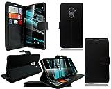 Para Vodafone Smart Platinum 7nuevo funda de piel Para Teléfono Móvil, piel sintética, estilo cartera negra, For Vodafone Smart Platinum 7
