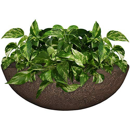 Sunnydaze Percival Flower Pot Planter Bowl, Outdoor/Indoor Ultra-Durable Double-Walled Polyresin, UV-Resistant Sable Finish, Single, Large 21-Inch Diameter