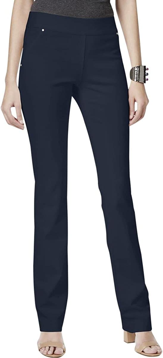 INC Womens Ponte Curvy Fit Casual Pants Navy 4