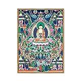 Pintado a mano Thanka Thangka Maitreya Buda Pintura Seda Buda Lienzo Arte Bordado Seda Bordado Tibetano Blanco Tara Thangka Tapiz Colgante de pared Arte de pared para decoración del hogar,B,30*40