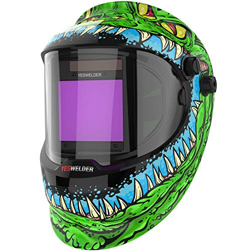 YESWELDER Large Viewing True Color Solar Powered Auto Darkening Silver Welding Helmet with SIDE VIEW, 4 Arc Sensor Wide Shade 4/5-9/9-13 Welder Mask for TIG MIG ARC Grinding Plasma LYG-Q800D-ME