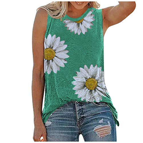 Fragarn Sunflower Sleeveless Tops For Women Sexy Casual T Shirts Women Graphic Tees Summer Classic Crewneck Workout Tank Tops Camis Blouses(Green,Small)
