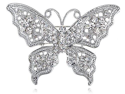 ALILANG Damen Silber Kristall Helle Strass Schmetterling Insekt Flügel Brosche