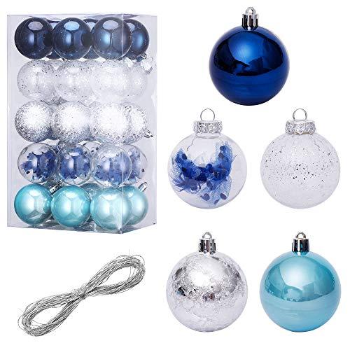 LessMo 30Pcs Palline di Natale, Ornamenti di Palle di Albero di Natale Infrangibili, Decorazioni Natalizie con Ciondolo a Pallina da Appendere per la Casa Decorazioni per Feste Decorazioni