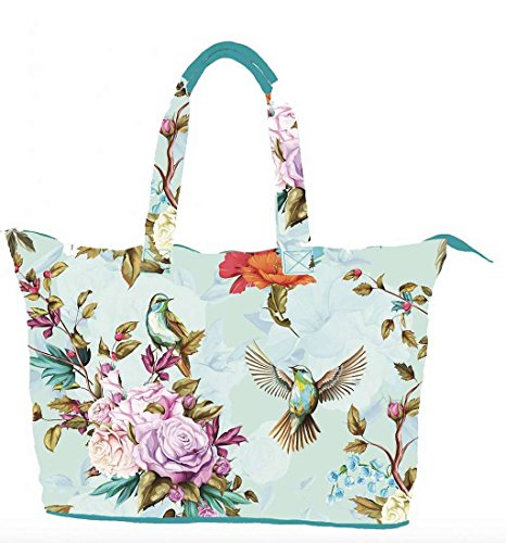 TAZ TRADE Weekender Strandtasche XXL Birds and Flowers Mint Multi