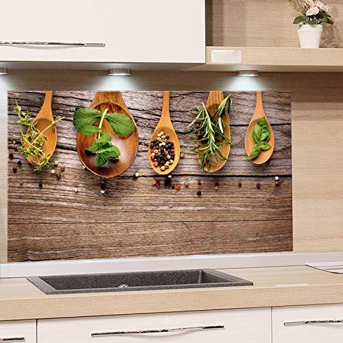 GRAZDesign Nischenrückwand Küche Holzoptik, Glasplatte Küche Gewürze, Spritzschutz Küche Glas Küchenmotiv, Küchenrückwand Glas Kräuter / 60x40cm