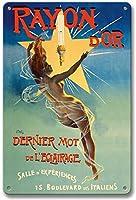 レーヨンドールティンサイン装飾ヴィンテージ壁金属プラークカフェバー映画ギフト結婚式誕生日警告のためのレトロな鉄の絵