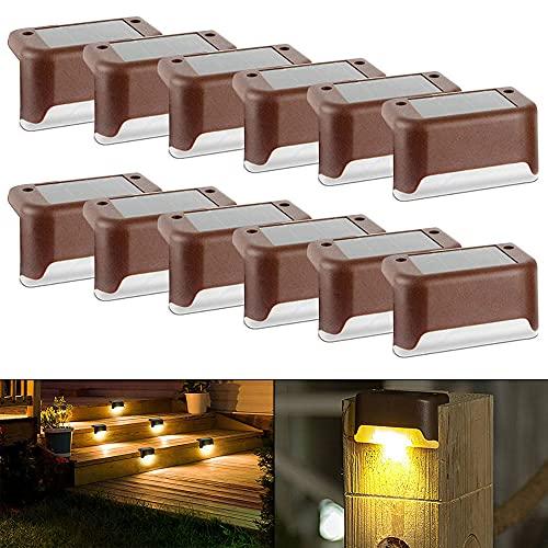 Lámpara solar para escaleras, 12 unidades, tapas para postes de valla, luz solar, IP65, resistente al agua, luz LED solar para escaleras al aire libre, para patio trasero, escaleras, jardín, terraza