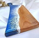 Heqianqian Tabla de cortar epoxi decorativa de madera para cortar y servir tabla de cortar bloques para carne, frutas, verduras, tabla de cortar carne, cocina (tamaño: 35 x 10 cm; color: azul)