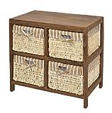 Cómoda marrón natural con 4 cestas con look vintage para piso, comedor, habitación de niños,...