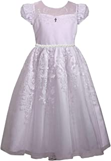 Bonnie Jean Girl's First Communion Dress Short Sleeve with Cross Trim