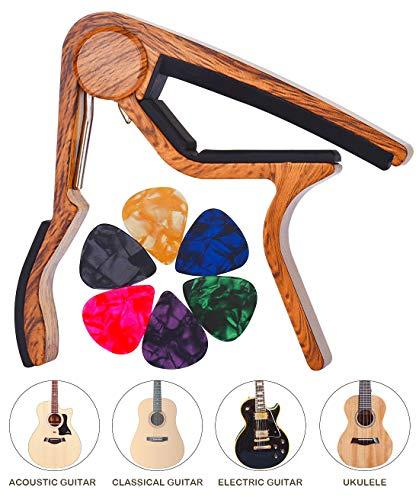 LongJoy Kapodaster Mit Holz-Finish Für Ukulele, Akustische, Elektrische und Bassgitarre Wood Color