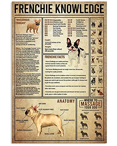 Funny Dog Wall Art French Bulldog Poster Frenchie Knowledge Poster Canvas Vintage Home Decor Poster No Frame, Canvas 1.5in Framed Prints Wall Art Home Decoration Artwork Picture PV_B18