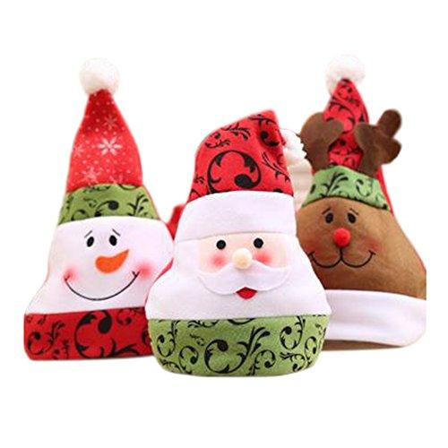 Love May 3Pieza Gorro Gorro de Papá Noel Navidad Bien Gorro Navidad Rojo de Papá Noel Cara Gorro Niños Adultos...