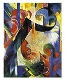 Formas rotas de Franz Marc Cuadro en Lienzo | Lienzos Decorativos | Cuadros Decoración Dormitorios | Cuadros Decoración Salón | Cuadros y láminas (20x25cm (7.8x9.8in), Sin Marco)