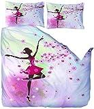 XXSCZ Ventilador Art DecoFlor de niña Bailando Juego de Cama de Microfibra Decorativo de 3 Piezas con Cierre de Cremallera (1 Funda nórdica + 2 pillocases)-135x200cm