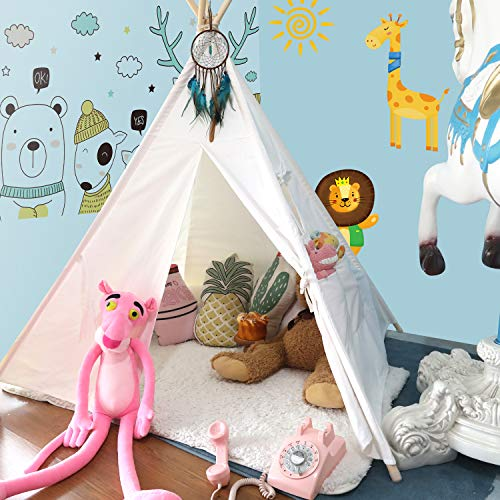 Anpro Kids Teepee Tent for Kids - Toddler and Baby Tipi Tent Toy for Boys and Girls, Kids Room Teepee for Indoor and Outdoor with Fairy Lights, Dream Catchers and Pennant Flags