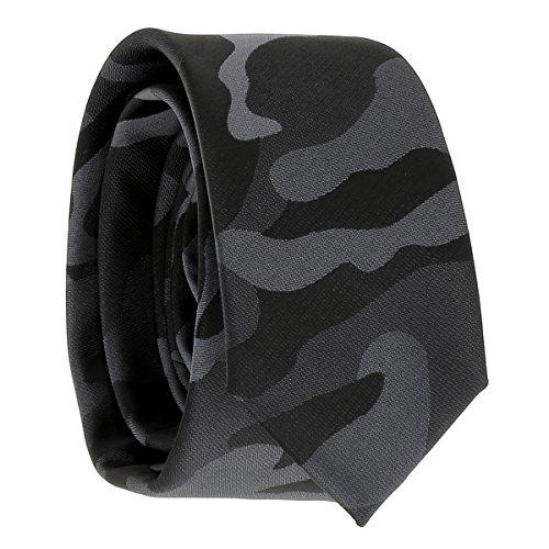 Cravate Militaire Noire et Grise - Cravate Camouflage Armée