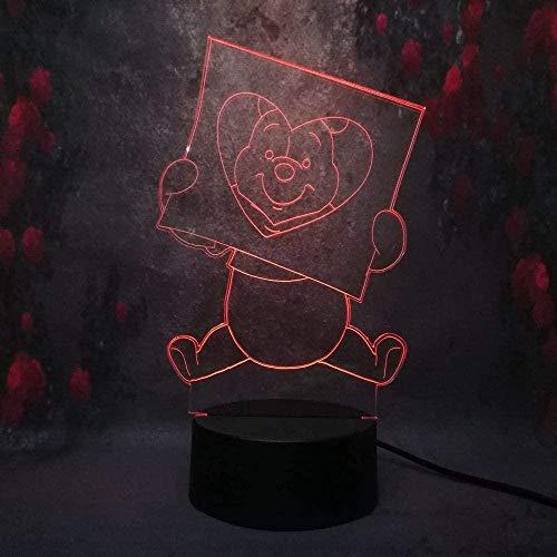 Veilleuse 3D Winnie L'Ourson Lampe Illusion La créativité Lumière De Nuit Optique Avec Télécommande 16 Changements De Couleur Lampe De Chevet Avec Usb Cadeaux Parfaits Pour Les Enfants
