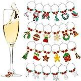 24 Pezzi Ciondoli per Bicchiere di Vino Tag Natale a Tema Marcatori per Bicchiere di Vino per Natale Forniture per Bomboniere