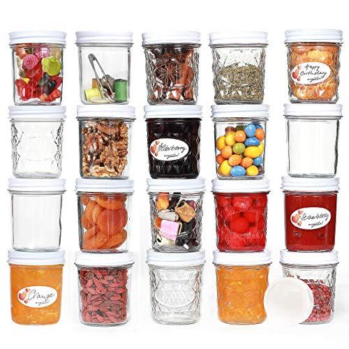 megusta!® Set de 20 pots à confiture avec couvercles, 200 ml, + 20 étiquettes, couvercles blancs, petits pots à confiture, pots à épices, bols à dessert, aussi pour la salle de bain