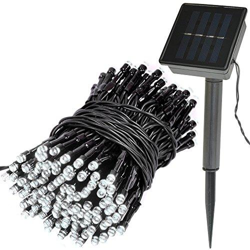 life_mart イルミネーションライト ソーラー充電式 LED ライト 200球 12m 防滴仕様 8パターン点灯 自動点灯/自動消灯機能 ガーデンライト (ホワイト)