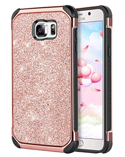 DUEDUE Galaxy Note 5 Case, Shockproof Luxury Glitter Bling Hybrid Hard Cover with Sparkly Shiny Faux Leather Soft TPU Bumper Full Protective Case for Samsung Galaxy Note 5, Rose Gold