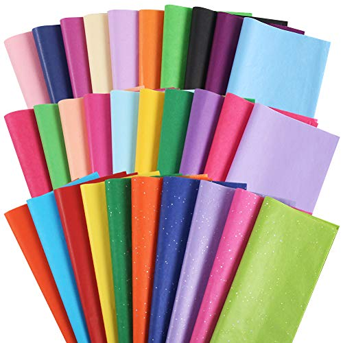 150Sheets Wrapping Tissue Paper, Tissue Paper Gift Wrap Colors of Rainbow Gift Tissue Paper for Gift Bags, 30 Colors