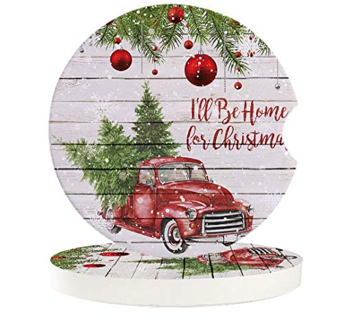 2.56' Car Coasters 2 Pack I'll Be Home For Christmas Red Vintage Truck Carrying Xmas Trees Absorbent Ceramic Coasters for Car,Auto Coasters for Drink Cup Holder,Car Accessories