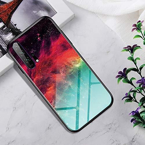 Dmtrab Phone Case para Huawei Honor 20 Pro Caso, Vidrio Templado a Prueba de Golpes + Funda Protectora TPU (Nebulosa Colorida) Tapa de Paquetes (Color : Colorful Nebula)