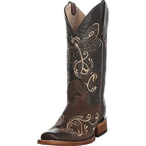 Corral Women's Circle G Distressed Bone Dragonfly Embroidered Square Toe Western Boot Brown