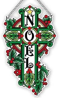 Joan Baker Designs Christmas Noel Cross Glass Art