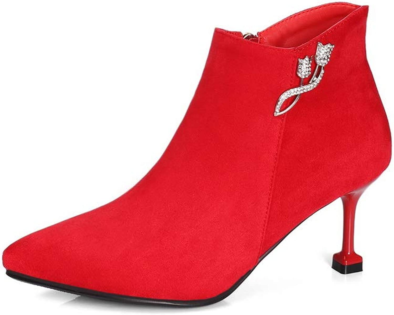 AdeeSu Womens Pointed-Toe Rhinestones Imitated Suede Boots SXC03531