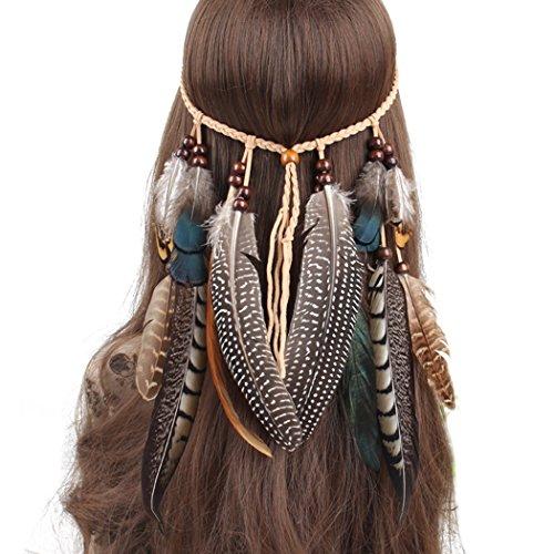 Ymwave Damen Stirnbänder Hippie Boho Haarband Haarschmuck Indisch Kopfschmuck Feder Quasten Gürtel Seil Weben mit Holzperle für Frauen Festival Karneval, One Size, 1#