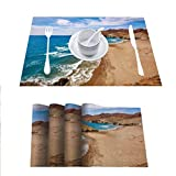 FloraGrantnan - Juego de 6 manteles individuales para mesa de comedor, decoración de Almería, Playa del Monsul en Cabo de Gata en España, resistentes al calor