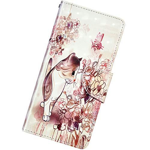 Urhause Kompatibel mit Samsung Galaxy S8,Kreative PU Leder 3D Muster Bunte Flip Brieftasche Schutzhülle mit Standfunktion Karten Slot Magnetverschluß Lanyard Handyhülle,Kätzchen