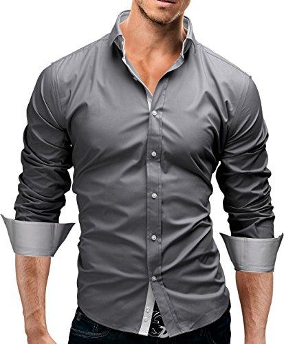 MERISH Hemd Slim Fit 3 Farben Größen S-XXL 03 Grau XXL