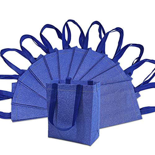 Medium-Small Metallic Blue Reusable Glitter Gift Bags with Handles, Birthday Party Favor Bags Bags for Weddings, Holidays and All Occasions 12 Pcs. 8x4x10'