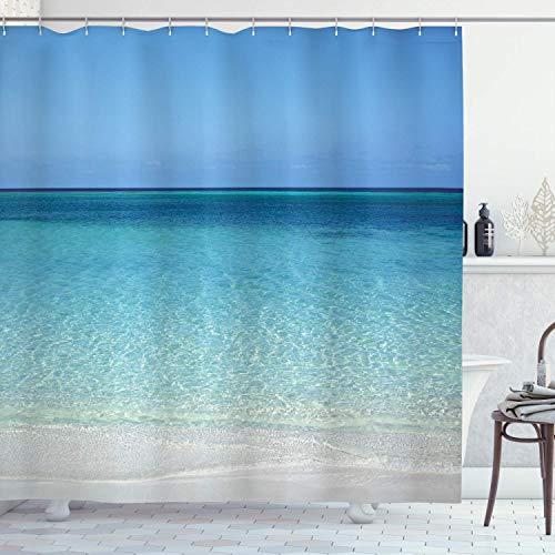 ASDAH Douchegordijn, 48 x 72 inch, oceaan, helder water op het strand, in Atlantische Zee, kuba-kussen, met hemel, landschap, kunststof, stof, stof, badkamer, decoratieset met haken, turquoise