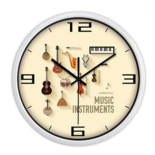 WTL wall clock Silencieux Horloge Murale Salon Creative Horloge Minimaliste Moderne Quartz Horloge Pendaison Table Chambre Horloge Murale Ronde (Couleur : Blanc, taille : 12 inches)