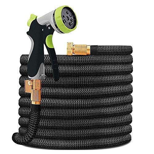 MIAO. 50FT / 15m Ampliable Manguera de jardín de Tubo, Flexible Ampliación de la Manguera de Magia con múltiples Spray de riego Pistola para el hogar, jardín, Patio y Limpieza de Coches