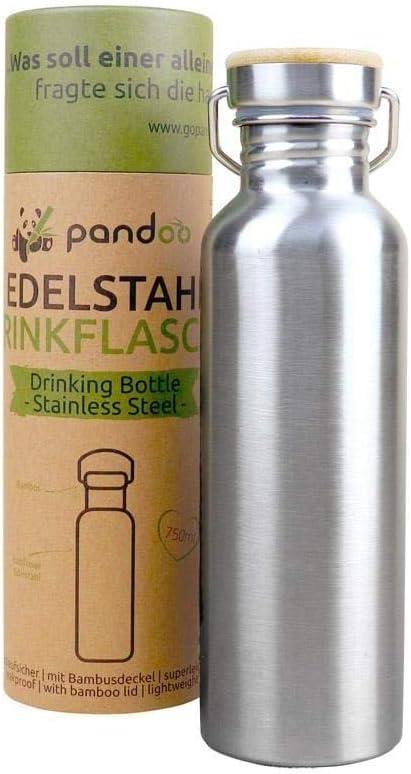 pandoo Botella de agua de acero inoxidable, 750 ml, reutilizable, a prueba de fugas, con tapa, para deportes, camping, excursión, ciclismo | con o sin aislamiento (una pared)